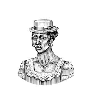 Donna elegante in cappello afroamericano signora epoca vittoriana moda e vestiti disegnati a mano vecchio schizzo