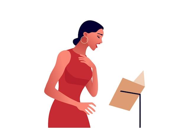 Donna elegante che canta, bella donna in abito rosso, musica lirica, illustrazione piatta