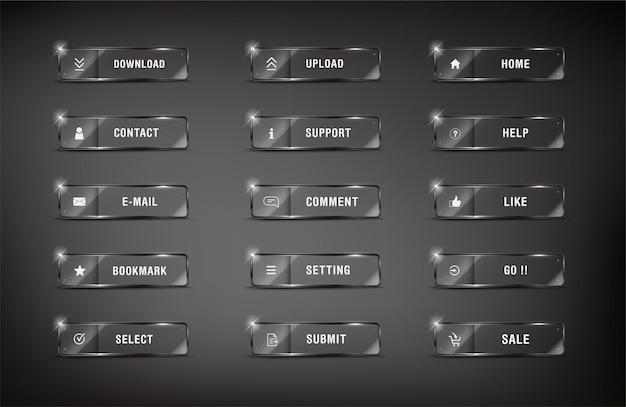 Elemento buttonweb imposta icona quadrata web lucido