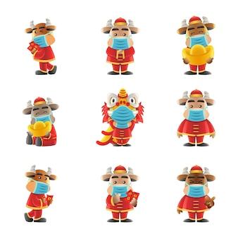 Elemento del capodanno cinese carino di disegno del fumetto che indossa maschere