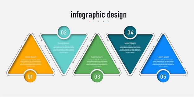 La timeline del modello di progettazione infografica dell'elemento con le opzioni di 5 passaggi può essere utilizzata per il flusso di lavoro