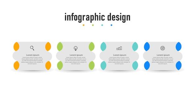 Modello di progettazione di infografica di presentazione di passaggi di elementi