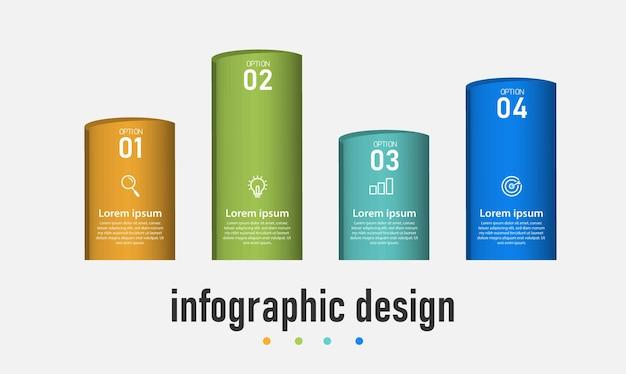 Modello 3d di progettazione infografica timeline di elementi passaggi