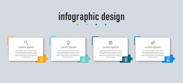 Modello di progettazione infografica timeline passaggi elemento