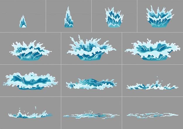 L'acqua dell'elemento spruzza l'animazione. animazione del gioco. gocciolante acqua effetto speciale fx animazione fotogrammi foglio sprite.