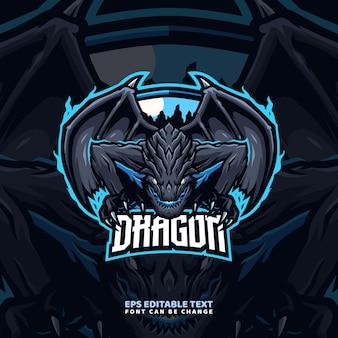 Modello di logo della mascotte del drago elementale