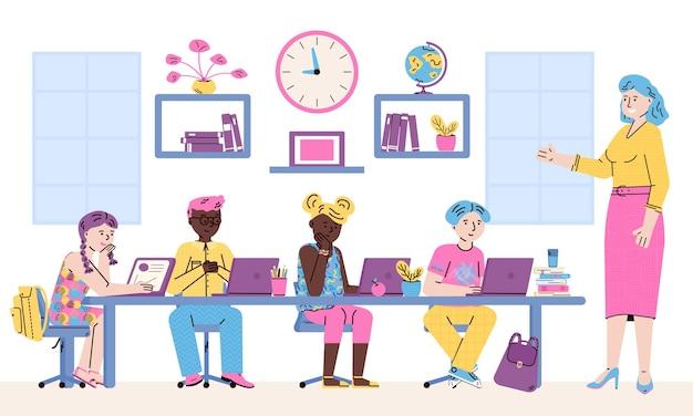 Bambini delle scuole elementari che utilizzano computer portatili nell'istruzione online in classe