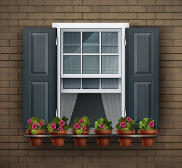 Elementi di architettura, sfondo della finestra. finestra con vasi di fiori su una parete. elemento di casa del fumetto. vista ravvicinata della bella finestra con cornice bianca con fiori