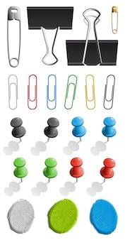 Elementi per il fissaggio della carta. set di pin, plastilina e graffetta. illustrazione su sfondo bianco.