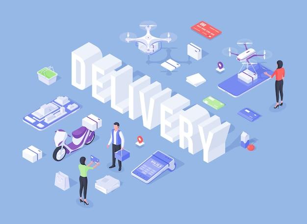 Elementi e personaggi dei cartoni animati per la promozione del servizio di consegna