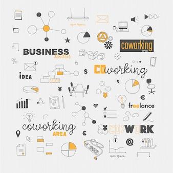 Elementi di doodles concetto di coworking cowork e freelance