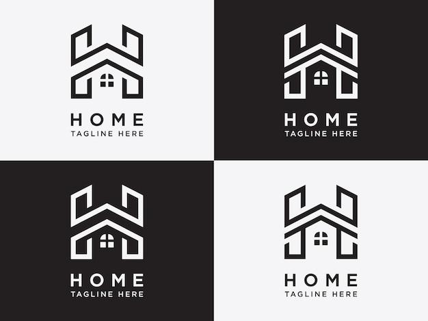 Elementi di un modello di set di design del logo per la casa con lettera h