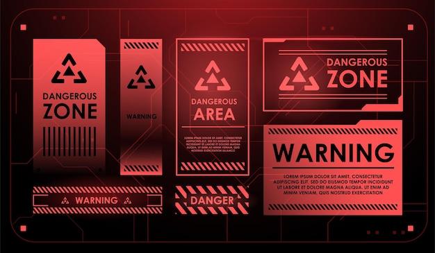 Elementi dell'interfaccia hud con segno di attenzione. avvertimento.
