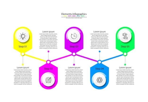 Modello infografico di elementi colorato con cinque passaggi