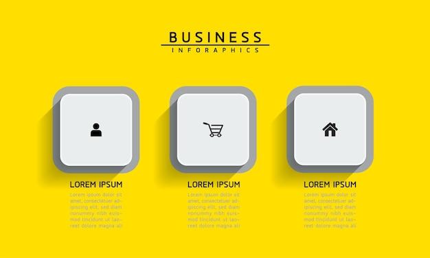 Elementi per infografica. presentazione e grafico. passaggi o processi. opzioni numero modello di flusso di lavoro design. 3 passaggi.