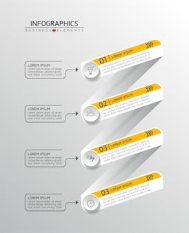 Elementi per infografica. presentazione e grafico. passaggi o processi. opzioni numero modello di flusso di lavoro design.4 passaggi.