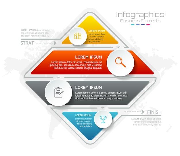 Elementi per infografica. presentazione e grafico. passaggi o processi. opzioni numero modello di flusso di lavoro design. 4 passaggi.