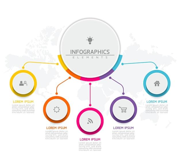 Elementi per infografica. presentazione e grafico. passaggi o processi. opzioni numero modello di flusso di lavoro design. 5 passaggi.
