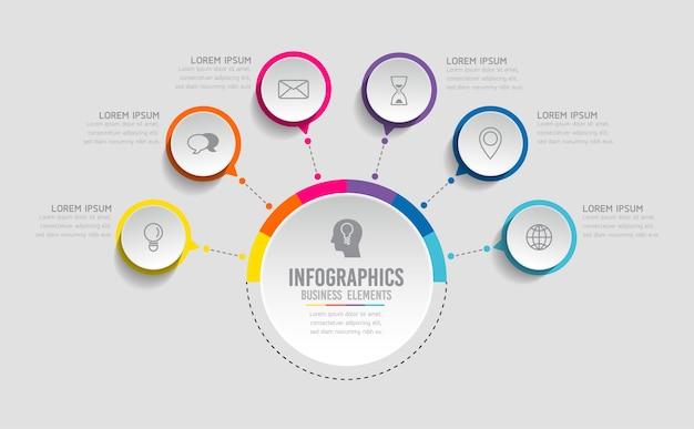 Elementi per infografica. presentazione e grafico. passaggi o processi. opzioni numero modello di flusso di lavoro design.6 passaggi.