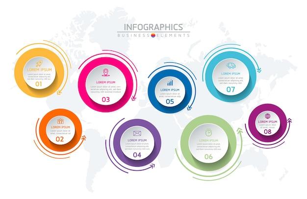 Elementi per infografica. presentazione e grafico. passaggi o processi. opzioni numero modello di flusso di lavoro design. 8 passaggi.