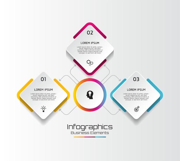 Elementi per infografica. presentazione e grafico. passaggi o processi. opzioni numero modello di flusso di lavoro design. passi.