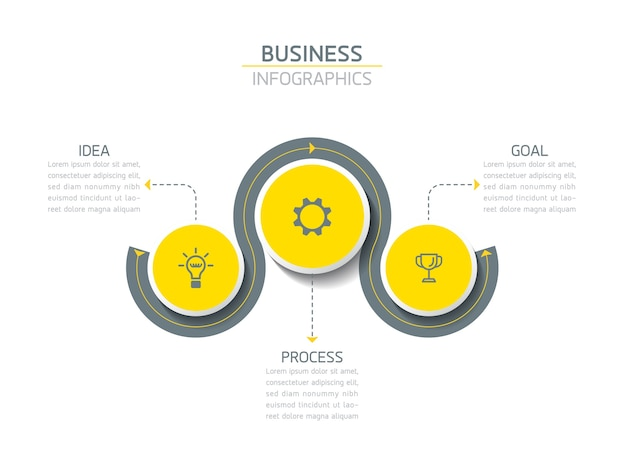 Elementi per la presentazione di infografiche e passaggi del grafico o processi opzioni numero passaggi del modello di flusso di lavoro