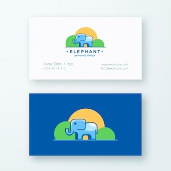 Progettazione della geometria di elephan. segno astratto o logo e modello di biglietto da visita.