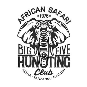Elefante di caccia safari africano