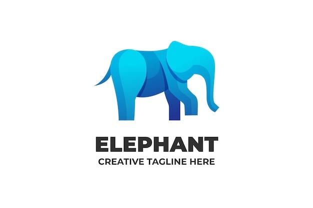 Modello di logo sfumato di carattere animale elefante