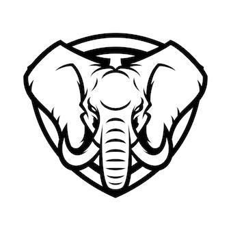 Elefante animale sport mascotte capo vettore logo