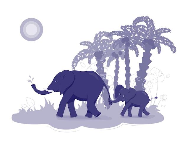 Elefante e bambino si aggrappano alla coda palme con noci di cocco e sole