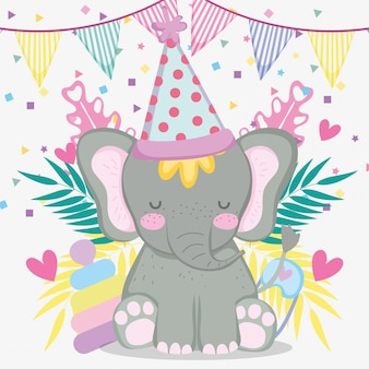Elefante nel baby shower con banner festa