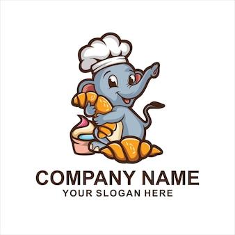 Logo di panetteria elefante isolato su bianco