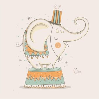 Elefante circus performer illustrazione vettoriale disegnato a mano