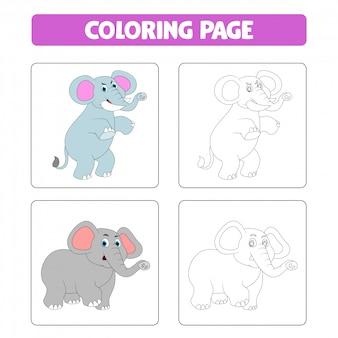 Elefante simpatico cartone animato, libro da colorare