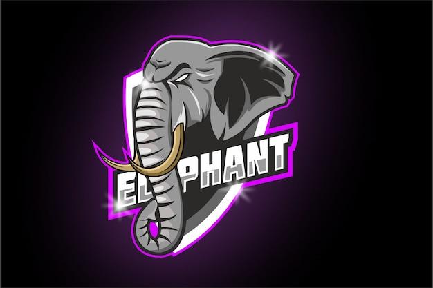 Logo della mascotte di elefante e sport