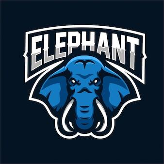 Modello di logo mascotte gioco elefante esport