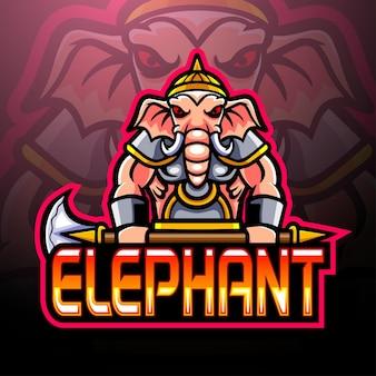 Disegno della mascotte del logo esport dell'elefante