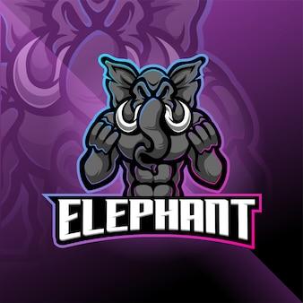 Disegno logo elefante esport mascotte