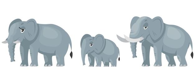 Personaggi della famiglia di elefanti. animali africani in stile cartone animato.