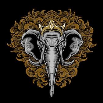 Illustrazione della testa di elefante con incisione