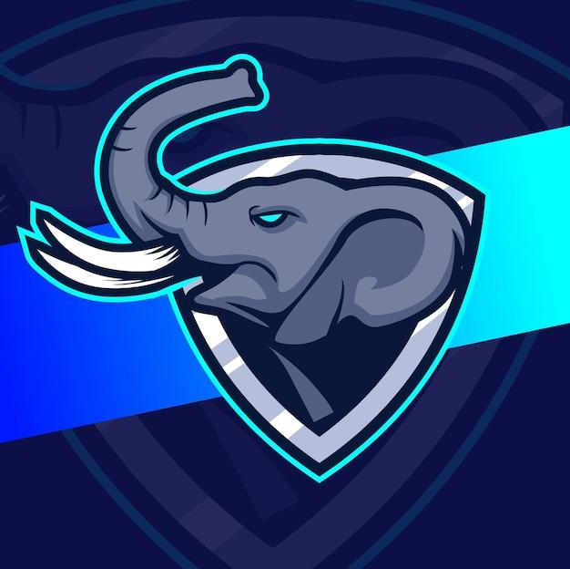 Testa di elefante mascotte esport logo design personaggio
