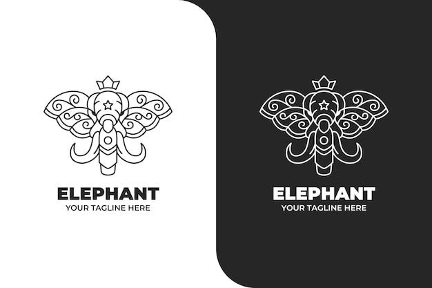 Ornamento testa di elefante monoline logo