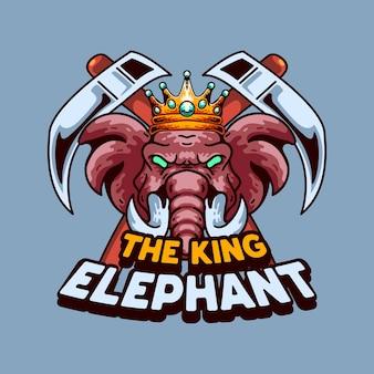 Disegno vintage di t-shirt con mascotte illustrazione re elefante