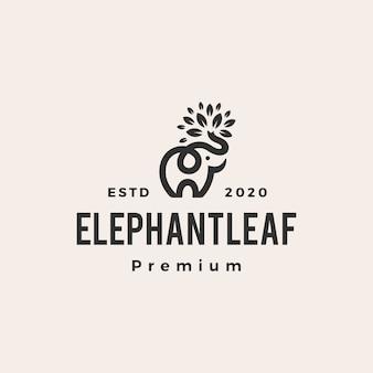 Elefante foglia foglie albero logo vintage icona illustrazione