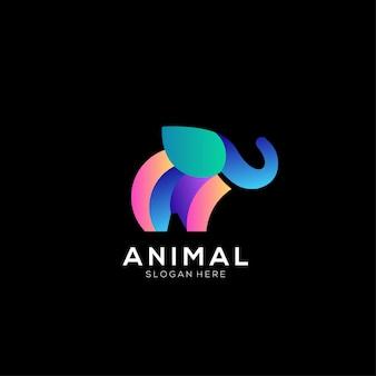 Gradiente di design colorato logo elefante