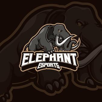Design del logo di gioco esport mascotte elefante