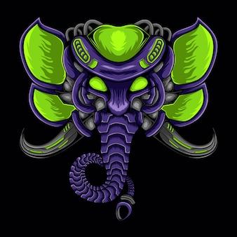 Illustrazione del logo della mascotte meccanica dell'elefante