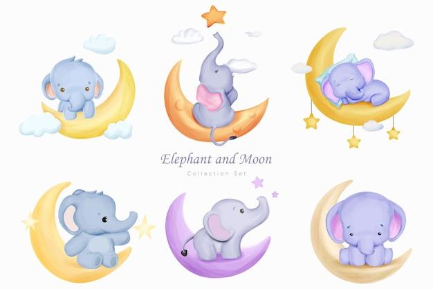 Raccolta di elefanti e luna con illustrazione ad acquerello
