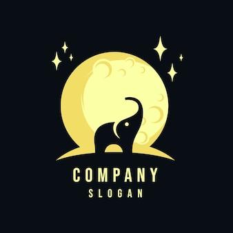 Disegno del logo di elefante e luna